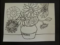 Kids Can Draw: Vincent Van Gogh Sunflowers with First Grade Art Students. - YouTube