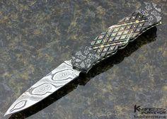 Anders Hedlund Custom Knife Piqued Black & Damascus Linerlock Dagger - Anders Hedlund custom knife - image 1