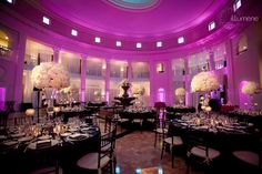 The Westin Colonnade wedding lighting purple