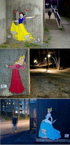 Crazy street art. Twisted disney princesses