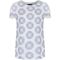 Rachel McMillan - Hedonism Tee (£22) ❤ liked on Polyvore featuring tops, t-shirts, oversized t shirt, flower print tops, print t shirts, oversized tops and print top