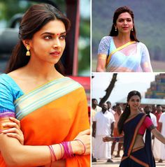 Deepika Padukone's look in Chennai Express is a perfect combination of contemporary and traditional style, all with a gorgeously Southern flair. The key is to pair bright silks with light and glowy makeup choices. Line the top of your eyelieds with a dark brown liner instead of the customary jet-black eyeliner on the top and bottom. Shimmery neutral eyeshadows and bronzers will add a naturally sparkling finishing touch.