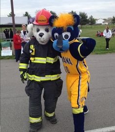 Sparky and his pal Boomer from the Indiana Pacers hang out! Sparky The Fire Dog, Indiana Pacers, Hanging Out, Minions, Dogs, Character, Firefighter, The Minions, Pet Dogs