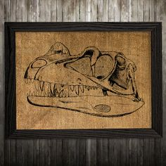Dino skull print. Anatomy poster. Animal decor. Skull print. PLEASE NOTE: this is not actual burlap, this is an art print, the image is printed on