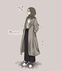 23 best art animasi hijab - my ely Girly Drawings, Anime Girl Drawings, Anime Art Girl, Hijab Anime, Girl Cartoon, Cute Cartoon, Cover Wattpad, Hijab Drawing, Islamic Cartoon