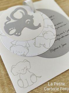 """Invitation baby shower """"petit éléphant"""" Et son enveloppe coordonnée Invitation Baby Shower, Elephant, Scrapbooking, Diy, Invitations, Envelope, Bedrooms, Bricolage, Elephants"""