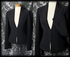 Gothic Black Tailored MALEVOLENT MISTRESS Riding Jacket 8 10 Victorian Vintage