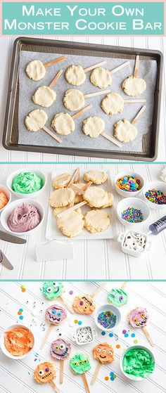 This DIY Monster Cookie Bar is a perfect party activity that creates a delicious Halloween dessert. All you need is a simple sugar cookie recipe and a touch of frosting to bring these monsters to life (Favorite Party Products) Halloween Desserts, Halloween Party Games, Halloween Birthday, Halloween Activities, Halloween Kids, Halloween Treats, Halloween Party Activities, Disney Activities, Halloween Yard Decorations