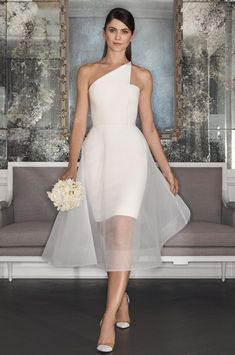 Pearl wedding dress made of silk crepe features a one-shoulder asymmetrical neckline and waltz-length illusion overskirt. dresses silk off shoulder Romona Keveza Fall 2017 Wedding Dress Collection Romona Keveza Wedding Dresses, Civil Wedding Dresses, Wedding Gowns, 2017 Wedding, 2017 Bridal, Civil Ceremony Wedding Dress, Chapel Wedding, Trendy Wedding, Wedding Week
