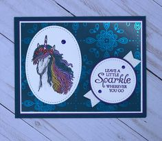 Stampin Up Little Sparkle Unicorn Unicorn Cards, Horse Cards, Stampin Up Catalog, Card Crafts, Animal Cards, Stamping Up, Creative Cards, Stampin Up Cards, Rooster