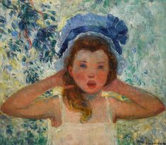 Fille de l'artiste au bonnet bleu | Impressionist & Modern Art2021 | Sotheby's Impressionist Art, Ferdinand, Online Images, Portrait, Oil On Canvas, Im Not Perfect, Modern Art, Painting, Daughter