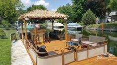 The Boathouse: a new definition to lakefront living! Boat Restaurant, Outdoor Restaurant, Pontoon Party, Small Pontoon Boats, Diving Lessons, Party Barge, Boat Lift, Twin Lakes, Tiki Hut
