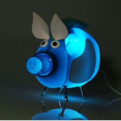 Recycled lamp! looks like all my kiddie friends will receive one of these for christmas this year