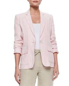 Shop One-Button Linen Blazer, Plus Size from Neiman Marcus at Neiman Marcus Last Call, where you'll save as much as on designer fashions. Light Pink Blazers, Plus Size Blazer, Blazer For Boys, Metallic Jacket, Linen Jackets, Outerwear Jackets, Plus Size Outerwear, Blazer Outfits, Work Outfits
