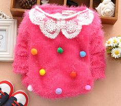 Baby Sweaters Colorful Ball Decoration Pullovers Sweater Baby Autumn Winter Warm Fluffly Sweater Girl