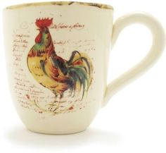 Wouldn't you love to wake up for coffee in this rustic rooster mug?...