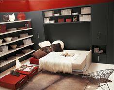 moderne wohnideen klappbett schrankbett weißes sofa rote ...