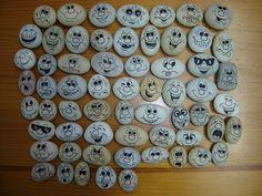 Seixos decorados com Funny Faces.  Stones, Rocks, Pebbles with funny faces