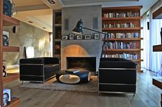 library and a fireplace. perfect combination!