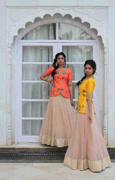 Orange and yellow peplum lehenga blouse with plain beige lehenga skirt. Choli Designs, Lehenga Designs, Blouse Designs, Dress Designs, Lehenga Style, Lehenga Blouse, Lehenga Skirt, Lehenga Choli, Sarees