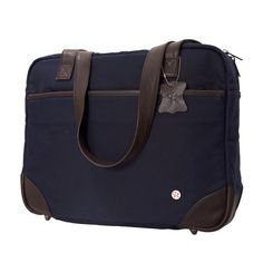 Token Bags Hudson Waxed Shoulder Bag, Navy, One Size Waterproof zipper for the main compartment. Leather bottom with brass feet. Leather straps short enough to carry by hand and long enough to carry on shoulder. External, zippered pocket trimmed with leather and lined with nylon. Great for files and thinner items.. Easy to clean, nylon interior with a large zippered pocket and 3 small pockets.