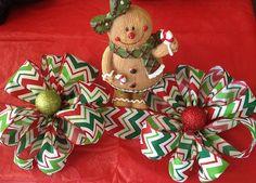 Christmas Chevron Ribbon Fabric Bow Garland by dottiedot05 on Etsy