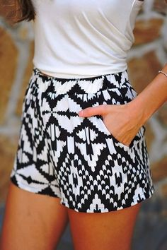 black + white shorts