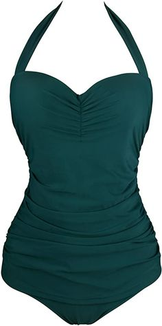 Angerella 50s Retro Vintage One Piece Pin Up Monokinis Swimwear, Dark Green, US 6-8=Tag Size L at Amazon Women's Clothing store