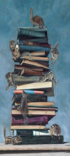 Colored pencil work by Eileen Sorg I Love Books, Good Books, Books To Read, Les Moomins, Library Posters, World Of Books, Lectures, Book Aesthetic, Cat Art