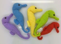 These seahorses are really fun and easy to make. You can crochet a whole bunch of them, all in different colours.