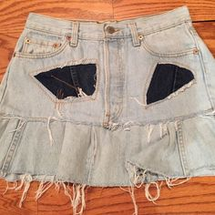 Jean skirt - darker jean accents. Size 30 -NEW. Jean skirt. So cute. New. Tag says 30 waist jeans. #1502 Petros Skirts