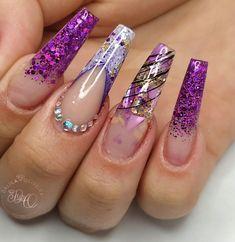 Ombre Nail Designs, Acrylic Nail Designs, Nail Art Designs, Nail Salon Design, Cute Summer Nails, Get Nails, Best Acrylic Nails, Birthday Nails, Purple Nails