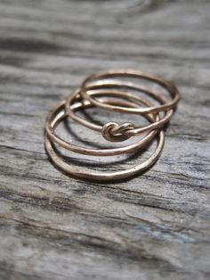 14K Gold Four Infinity Knot Stacking Ring