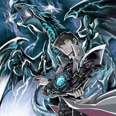 Blue eyes white dragon and Kaiba Kaiba Yugioh, Yu Gi Oh Anime, Otaku, Yugioh Monsters, White Dragon, Fan Art, Dragon Art, Digimon, Anime Characters