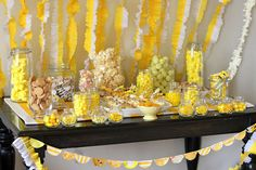 love the streamers & scalloped garland (candy isn't bad either)