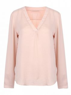 Lightweight woven fabric;V-neckline;Dipped hem;Relaxed fit;Hand wash;Non-stretchable Material;100%Polyester