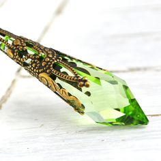 SALE Peridot Green Necklace, Icicle Necklace, Swarovski Crystal Long Necklace, Moss Green Crystal Pendant Necklace