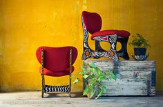 30 year old chairs were given a new lease of life - Suzani pattern, India colors
