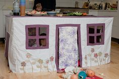 table cubby house. Would love to do this for the kids. Maybe one of my friend that sew could help.