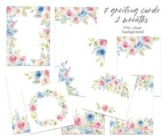 Leaf Clipart, Frame Clipart, Birthday Invitations, Wedding Invitations, Floral Texture, Blue Bouquet, Free Advertising, Flower Frame, Print Templates