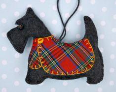 Scottie hond kerst ornament, voelde me hond sieraad, Scottie hond decoratie, hond kerst Ornament, handgemaakte Schotse terriër, tartan.