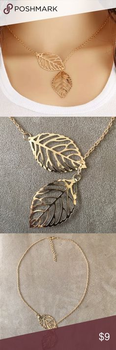 Gold Double Leaf Necklace Available • Also available in silver • Brand new • 15 inches long • pendant size: 2 inches • No trades Jewelry Necklaces