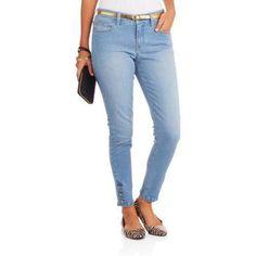 Women's Premium Stretch Skinny Jeans with Armada Button Hem Detail, Size: 6, Gray