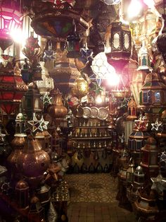 a lamp stall at the Marrakesh night market