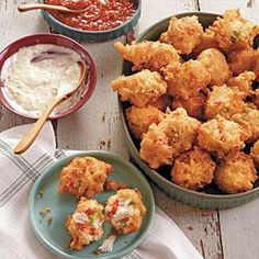 Serve these Crab Cake Hush Puppies with your favorite rémoulade or cocktail sauce for tasty appetizers.