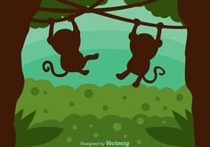 Monkey Silhouette In Jungle 265305 -   Illustration of two monkeys hanging from vines in a green jungle.  - https://www.welovesolo.com/monkey-silhouette-in-jungle-2/?utm_source=PN&utm_medium=weloveso80%40gmail.com&utm_campaign=SNAP%2Bfrom%2BWeLoveSoLo