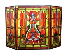 Arts and Crafts Decor   Tiffany Style Stained Cut Glass Mission Arts & Crafts Design Fireplace ...
