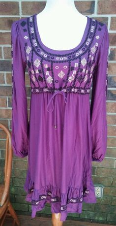 Angie Embroidered dress for hippie people Boho M purple free ship NWOT #angie #EmpireWaist #Casual