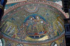 Mosaico de la Coronación de la Virgen en el ábside de Santa María la Mayor en Roma. Obra de Jacopo Torriti (1295), de clara influencia bizantina, tanto en iconografía como en el estilo. Finales del Duecento italiano.