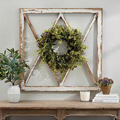Wreath Topped Windowpane Wall Plaque from Kirkland's Diy Wall Decor, Diy Home Decor, Wall Decorations, Porch Wall Decor, Small Wall Decor, Entryway Decor, Ikea, Modern Farmhouse Decor, Farmhouse Style